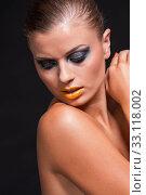 Купить «young attractive woman with yellow lipstick portrait», фото № 33118002, снято 25 мая 2020 г. (c) PantherMedia / Фотобанк Лори