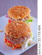 A couple of sandwich with hamburgers,  salad and tomato. Стоковое фото, фотограф Fabio Alcini / PantherMedia / Фотобанк Лори