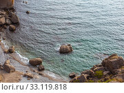 Meganom mountain range and beach, as well as the peninsula and cape in southeastern Crimea between (2016 год). Стоковое фото, фотограф katalinks / Фотобанк Лори