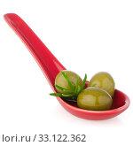 Купить «Olives on ceramic spoon», фото № 33122362, снято 12 июля 2020 г. (c) PantherMedia / Фотобанк Лори