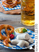 bavarian white sausages with mustard. Стоковое фото, фотограф Thomas Klee / PantherMedia / Фотобанк Лори