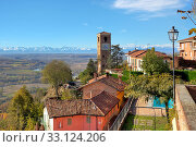 View of small town and old brick belfry in Santa Vittoria D'Alba in Piedmont, Northern Italy. Стоковое фото, фотограф Rostislav Glinsky / PantherMedia / Фотобанк Лори