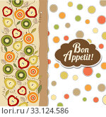 Купить «bon appetite card with fruits», иллюстрация № 33124586 (c) PantherMedia / Фотобанк Лори