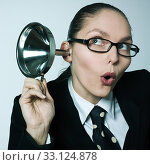 Купить «gossip girl curiosity woman spying curious hearing aid», фото № 33124878, снято 4 апреля 2020 г. (c) PantherMedia / Фотобанк Лори