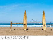 Traditional Peruvian small Reed Boats (Caballitos de Totora), straw boats still used by local fishermens in Peru. Стоковое фото, фотограф Xeniya Ragozina / PantherMedia / Фотобанк Лори