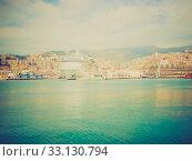 Retro look View of Genoa Italy from the sea. Стоковое фото, фотограф Claudio Divizia / PantherMedia / Фотобанк Лори