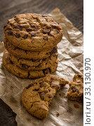 Купить «stacked chocolate cookies», фото № 33130970, снято 24 февраля 2020 г. (c) PantherMedia / Фотобанк Лори
