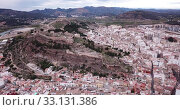 Aerial view of Sagunto city and antique roman fortress, Valencia, Spain (2019 год). Стоковое видео, видеограф Яков Филимонов / Фотобанк Лори