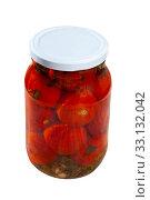 Купить «Pickled tomatoes in glass jar», фото № 33132042, снято 29 мая 2020 г. (c) Яков Филимонов / Фотобанк Лори