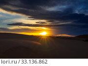 Купить «dramatic sunset in desert», фото № 33136862, снято 11 июля 2019 г. (c) Михаил Коханчиков / Фотобанк Лори
