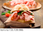 Купить «Delicious spicy sandwich with mortadella and red peppers», фото № 33139986, снято 30 мая 2020 г. (c) easy Fotostock / Фотобанк Лори