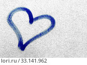 Купить «Concept or conceptual painted blue abstract heart shape love symbol, dirty wall background, metaphor to urban and romantic valentine, grungy style.», фото № 33141962, снято 28 мая 2020 г. (c) easy Fotostock / Фотобанк Лори