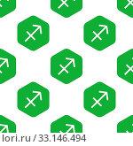 Купить «Vector zodiac Sagittarius symbol in hexagon, repeated on white background», фото № 33146494, снято 8 апреля 2020 г. (c) age Fotostock / Фотобанк Лори