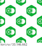 Купить «Image of coin with euro symbol in hexagon, repeated on white background», фото № 33146662, снято 28 мая 2020 г. (c) age Fotostock / Фотобанк Лори