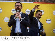 Italian Minister of Foreign affairs Luigi Di Maio (R), Italian Minister of justice Alfonso Bonafede during the rally of 5 Star Movement to defend a recent... Редакционное фото, фотограф Alessandro Serrano' / AGF/Alessandro Serrano' / / age Fotostock / Фотобанк Лори
