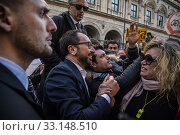 Italian Minister of Justice Alfonso Bonafede with supporters during the rally of 5 Star Movement to defend a recent law that cut parliamentary pensions in Rome, ITALY-15-02-2020. Редакционное фото, фотограф Alessandro Serrano' / AGF/Alessandro Serrano' / / age Fotostock / Фотобанк Лори
