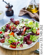 Grape with Radicchio, Rocket and Feta cheese salad. Стоковое фото, фотограф jongjai jongkasemsuk / PantherMedia / Фотобанк Лори