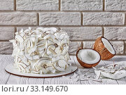 Купить «close-up of a coconut cake, top view», фото № 33149670, снято 27 октября 2019 г. (c) Oksana Zh / Фотобанк Лори