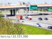 Купить «View at city highway from green roadside, a lot of vehicles drving on motorway in summer sunny day, blurred», фото № 33151390, снято 6 июля 2014 г. (c) Кекяляйнен Андрей / Фотобанк Лори