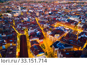 Panoramic view from the drone on the Valladolid at twilight. Spain (2019 год). Стоковое фото, фотограф Яков Филимонов / Фотобанк Лори