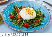 Купить «Salad with Italian burrata cheese; arugula and cherry tomatoes», фото № 33151814, снято 8 апреля 2020 г. (c) Яков Филимонов / Фотобанк Лори