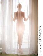 Купить «Defocus. High key light silhouette of a beautiful slender woman on the background of window», фото № 33158102, снято 9 сентября 2017 г. (c) katalinks / Фотобанк Лори