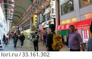 Купить «Doguyasuji, a covered shopping arcade in Namba. Nightlife in Osaka», видеоролик № 33161302, снято 30 декабря 2019 г. (c) Serg Zastavkin / Фотобанк Лори