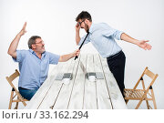 Купить «Business conflict. The two men expressing negativity while one man grabbing the necktie of her opponent», фото № 33162294, снято 3 июля 2020 г. (c) PantherMedia / Фотобанк Лори