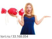 Купить «holidays love happiness concept - girl with red gift», фото № 33168054, снято 29 февраля 2020 г. (c) PantherMedia / Фотобанк Лори