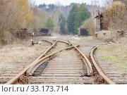 Купить «Liquidation of old tracks on the canceled Railway Line, Czech Republic.», фото № 33173714, снято 15 февраля 2015 г. (c) easy Fotostock / Фотобанк Лори