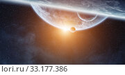 Купить «Sunrise over planet Earth in space», фото № 33177386, снято 10 июля 2020 г. (c) PantherMedia / Фотобанк Лори