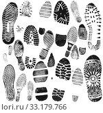 Купить «Shoe prints in black on a white background», иллюстрация № 33179766 (c) Элина Гаревская / Фотобанк Лори