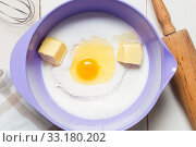 Купить «Baking ingredients in the mixing bowl», фото № 33180202, снято 8 апреля 2020 г. (c) PantherMedia / Фотобанк Лори