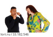 Купить «Wife yelling at her husband.», фото № 33182546, снято 28 мая 2020 г. (c) PantherMedia / Фотобанк Лори