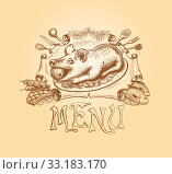 Купить «Vector hand drawn menu title design», фото № 33183170, снято 5 апреля 2020 г. (c) PantherMedia / Фотобанк Лори