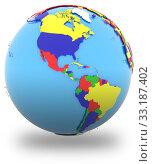 Купить «Western hemisphere on the globe», фото № 33187402, снято 25 мая 2020 г. (c) PantherMedia / Фотобанк Лори
