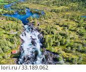 Popular norwegian waterfalls Likholefossen from air. Стоковое фото, фотограф Tomas Griger / PantherMedia / Фотобанк Лори