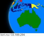 Купить «Australian continent on political Earth», фото № 33189294, снято 21 февраля 2020 г. (c) PantherMedia / Фотобанк Лори