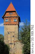Купить «bäuerlinsturm - watchtower with half-timbered building in dinkelsbühl», фото № 33189762, снято 2 апреля 2020 г. (c) PantherMedia / Фотобанк Лори