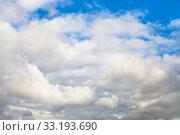 Купить «dense gray and white clouds in blue sky», фото № 33193690, снято 10 апреля 2020 г. (c) PantherMedia / Фотобанк Лори