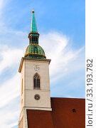clock tower of St. Martin Cathedral in Bratislava. Стоковое фото, фотограф Valery Vvoennyy / PantherMedia / Фотобанк Лори