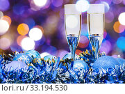 Купить «glasses, blue Xmass balls on blurry background 3», фото № 33194530, снято 10 июля 2020 г. (c) PantherMedia / Фотобанк Лори