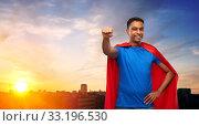 Купить «indian man in superhero cape makes winning gesture», фото № 33196530, снято 17 ноября 2019 г. (c) Syda Productions / Фотобанк Лори