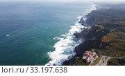 Scenic aerial view of lighthouse at cape Cabo da Roca in sunny spring day, Portugal (2019 год). Стоковое видео, видеограф Яков Филимонов / Фотобанк Лори