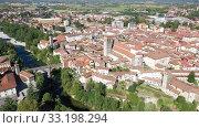 Купить «Aerial view on the city Cividale del Friuli. Italy», видеоролик № 33198294, снято 3 сентября 2019 г. (c) Яков Филимонов / Фотобанк Лори