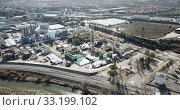 Купить «Aerial panoramic view of large vinyl producer - chemical plant at Martorell, included in INOVYN group», видеоролик № 33199102, снято 5 марта 2019 г. (c) Яков Филимонов / Фотобанк Лори