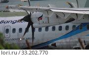 Купить «Turboprop aircraft before departure», видеоролик № 33202770, снято 2 декабря 2018 г. (c) Игорь Жоров / Фотобанк Лори