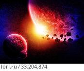 Купить «Meteorite impact on a planet in space», фото № 33204874, снято 16 июля 2020 г. (c) PantherMedia / Фотобанк Лори