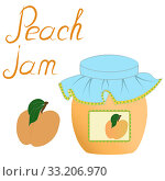 Купить «Home canning, food. Peach apricot sweet dessert jam juice in a glass jar with a lid with a sticker label, fresh fruit with leaves and the inscription. Set of three color icons isolate on white background», иллюстрация № 33206970 (c) Светлана Евграфова / Фотобанк Лори