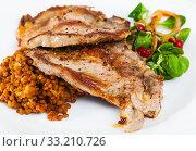 Купить «Cooked fried pork meat chop with lentils, herbs and berries garnish», фото № 33210726, снято 2 апреля 2020 г. (c) Яков Филимонов / Фотобанк Лори